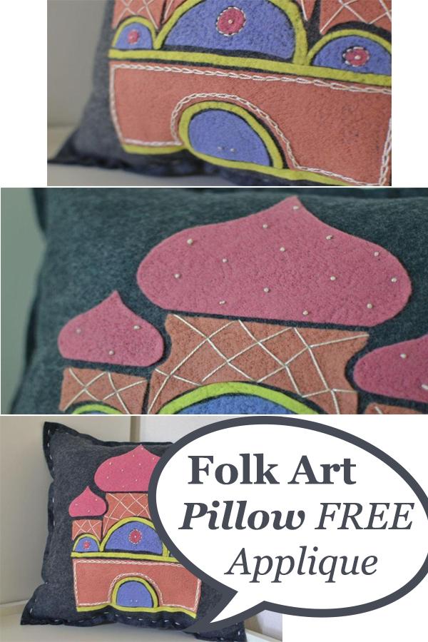 Folk Art Pillow Free Applique