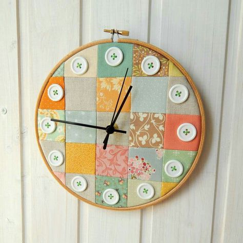 Patchwork embroidery hoop clock