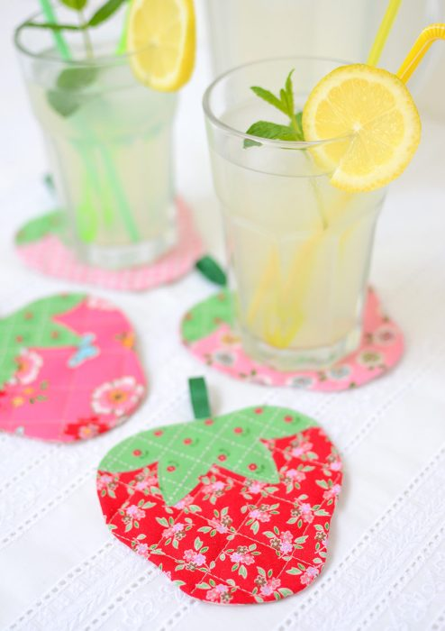 strawberry quilted coasters