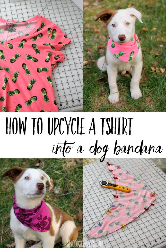 DIY dog bandana from a t-shirt