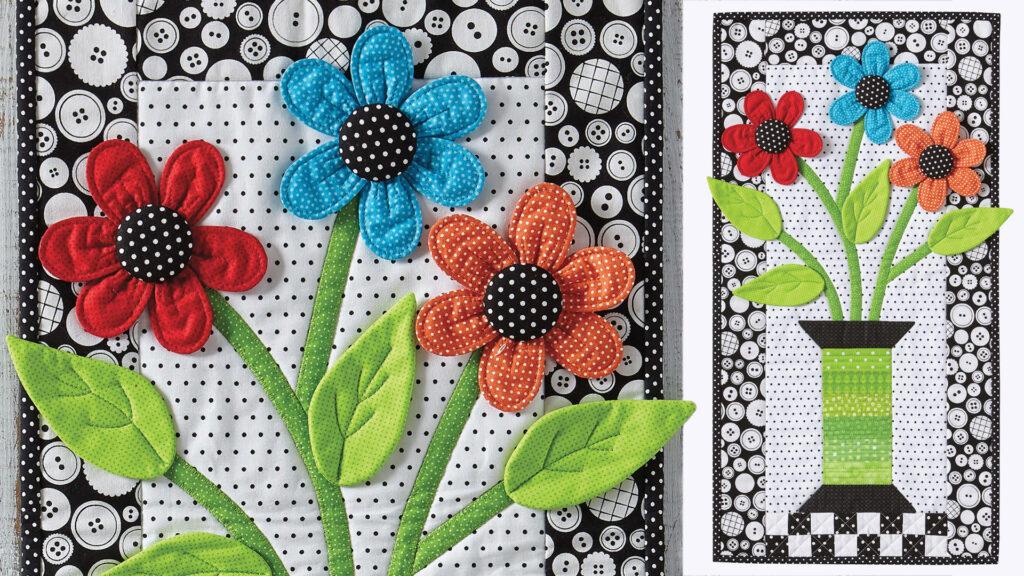 Flower dimensional applique wall quilt