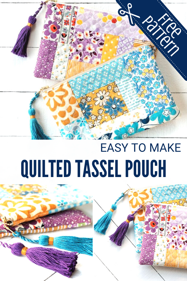 Easy to Sew Quilted Tassel Zipper Pouch