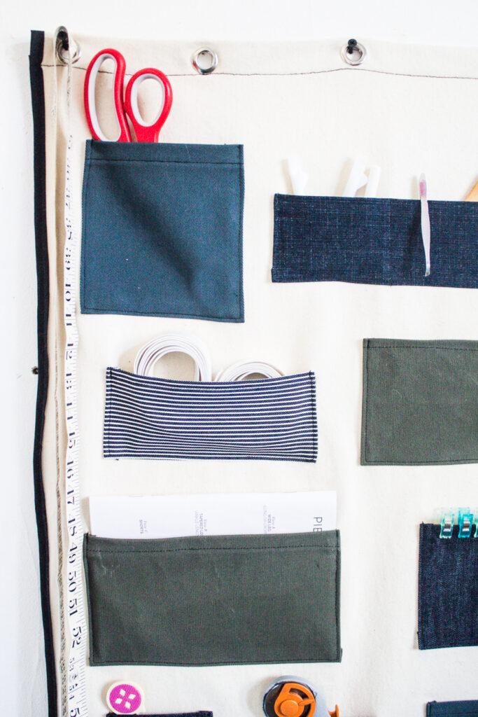 DIY Wall Organizer with pockets