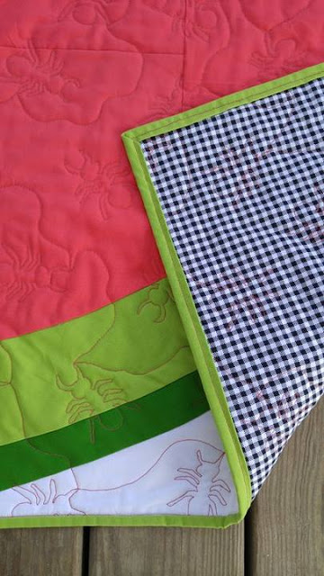 Watermelon and gingham quilt