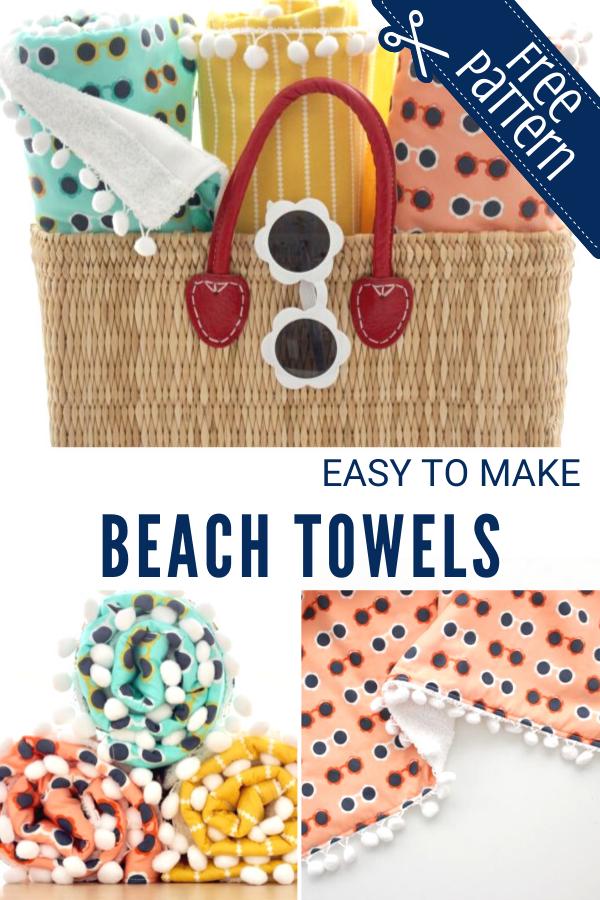 Easy to Make Beach Towels with Pom-Pom Trim
