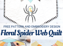 Free floral spider web mini quilt pattern with Dresden Plate and embroidery design