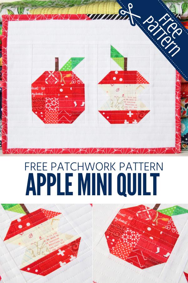 Free patchwork apple mini quilt pattern.