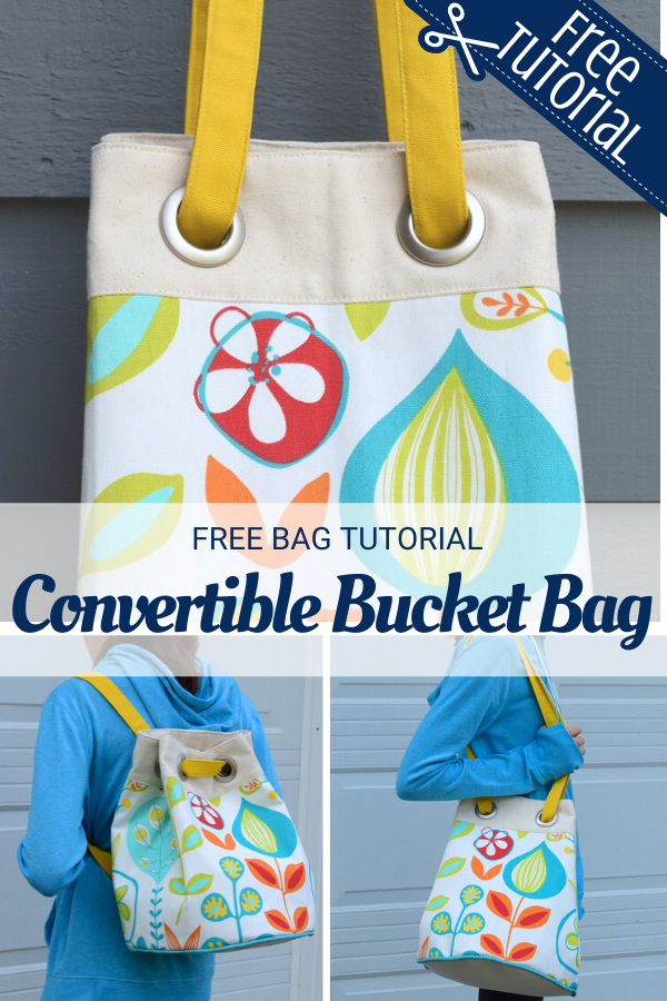 Convertible Bucket Bag Sewing Tutorial with backpack style and shoulder bag option