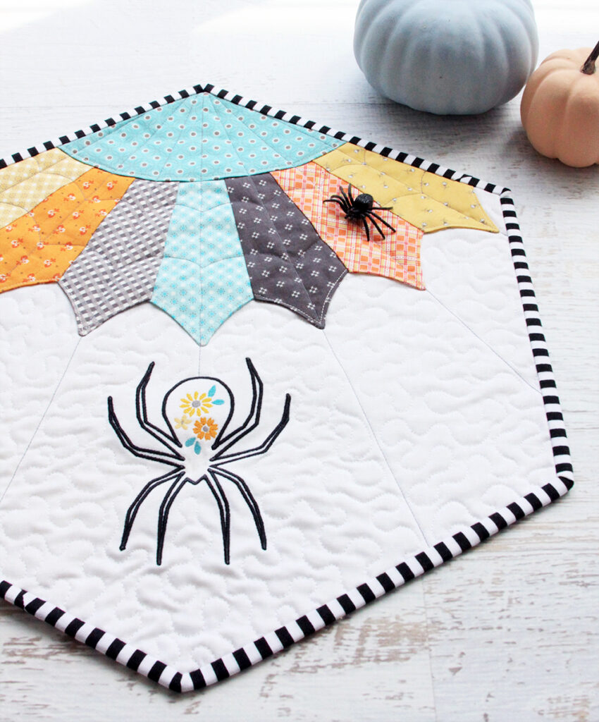 Free floral spider embroidery pattern