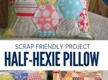 Turn your small scraps of fabric into a focal point in your room with this Half Hexie Pillow pattern.