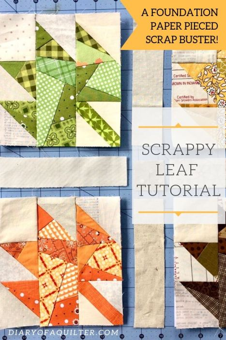 Scrappy Leaf Quilt Block Paper Piecing pattern and tutorial