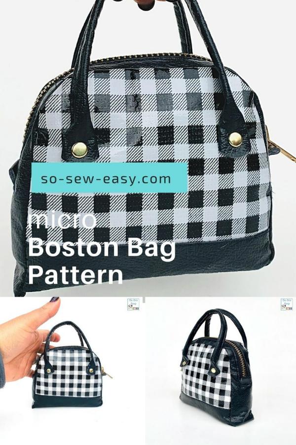 Micro Boston Bag Free Sewing Pattern using fabric scraps.