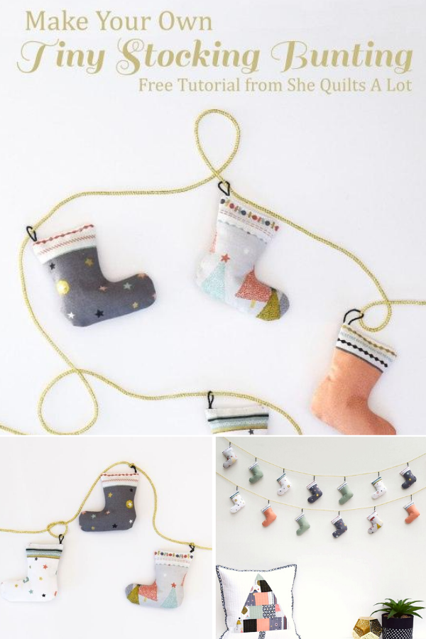 Free Tutorial for a tiny stocking bunting for holiday decor