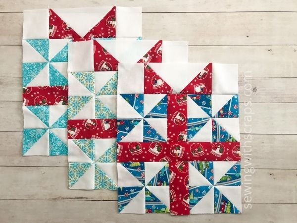We are turning our scraps into a festive holiday quilt with the Handmade with Love pattern. Here is block 3, the Pinwheel Present quilt block all stitched up.