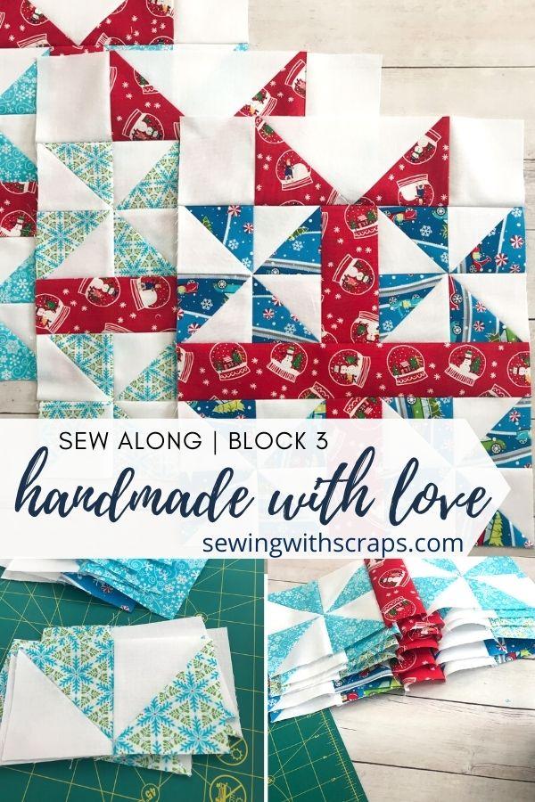 Pinwheel Presents Quilt Block   Handmade with Love Sew Along Block 3.
