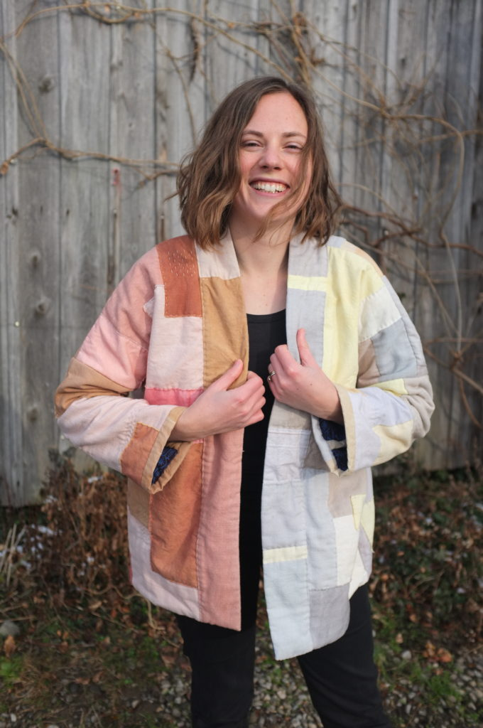 Hand dyed patchwork jacket using the Haori Sewing Pattern