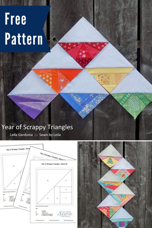 Scrap Busting Triangles quilt pattern for paper piecing