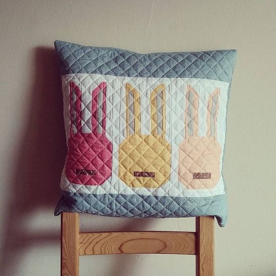 Bunny Block Quilted Pillow
