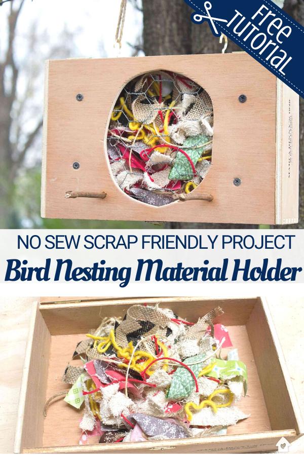 Fabric Scrap Nesting Material Box for Birds