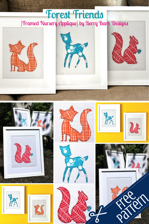Free Forest Friends Applique Nursery Wall Art. Perfect for a gender neutral nursery.