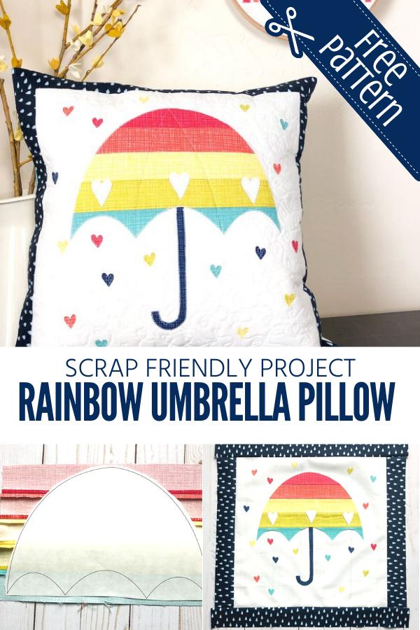 Scrappy Rainbow Umbrella Pillow Tutorial