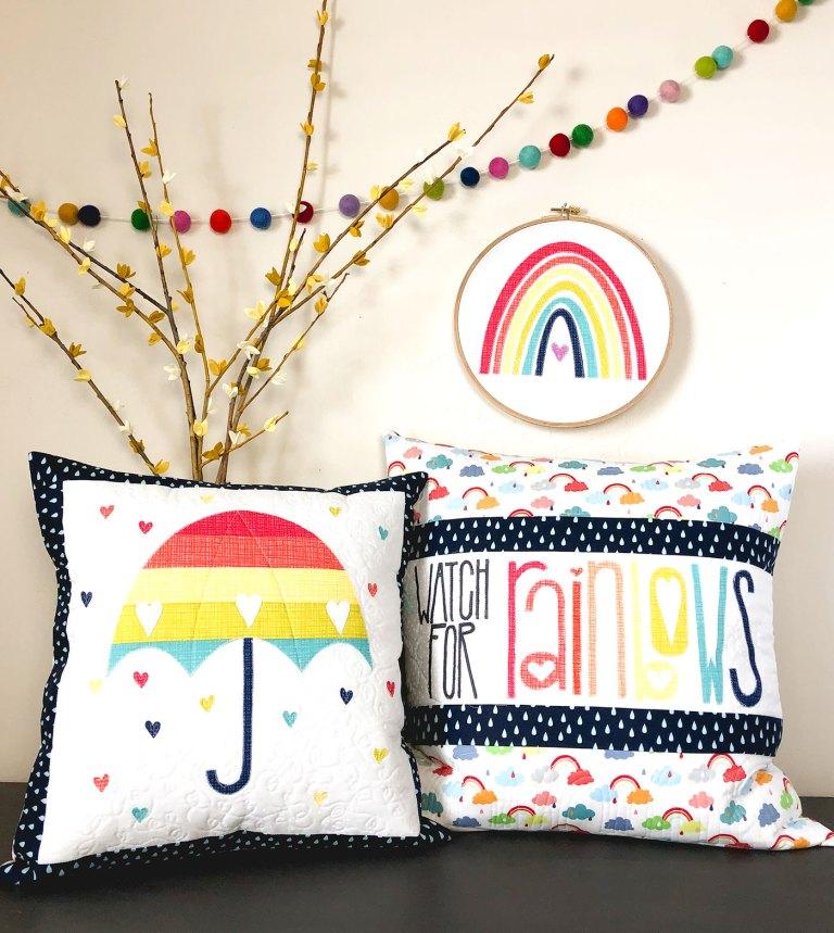Rainbow Umbrella Free Applique Pattern