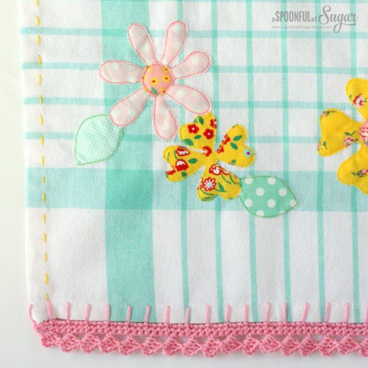Applique and Crochet Tea Towel Tutorial