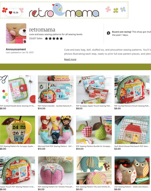 Check out these scrap friendly patterns from RetroMamma's Etsy Shop. They are adorable!
