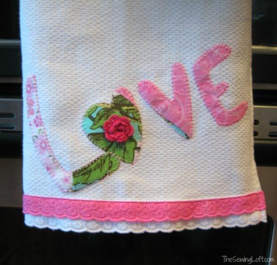 Love applique tea towel for Valentine's Day