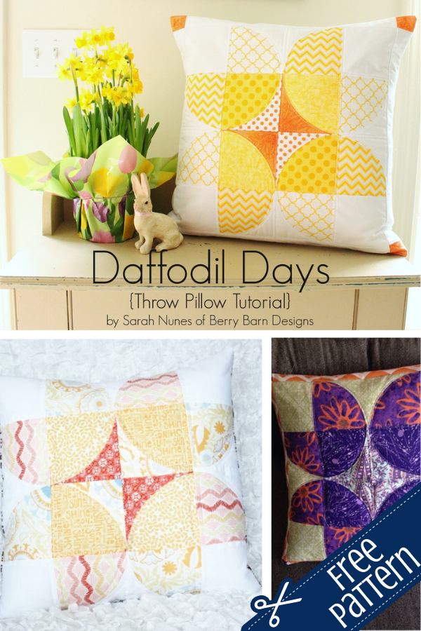 Sewing curves Daffodil Days Pillow pattern