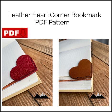 DIY leather heart corner bookmark