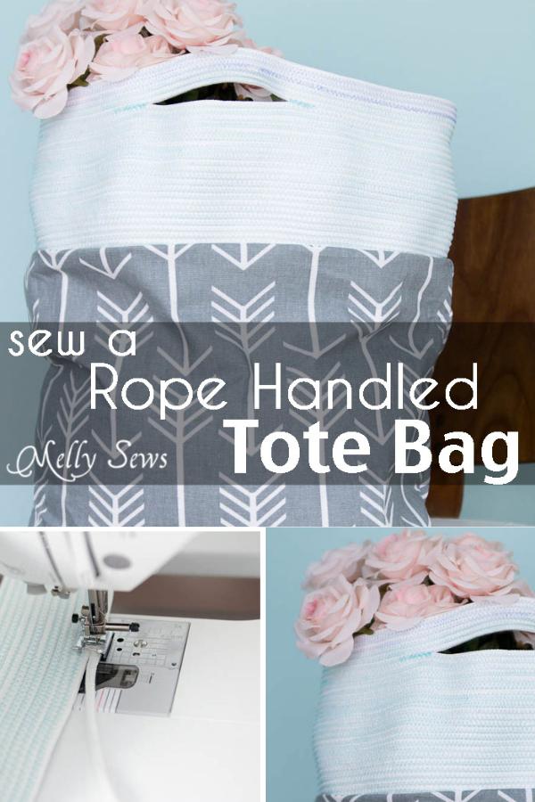 Free Rope Handled Tote Bag Sewing Tutorial