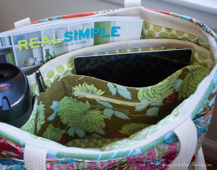 pocket divider for tote bag sewing pattern