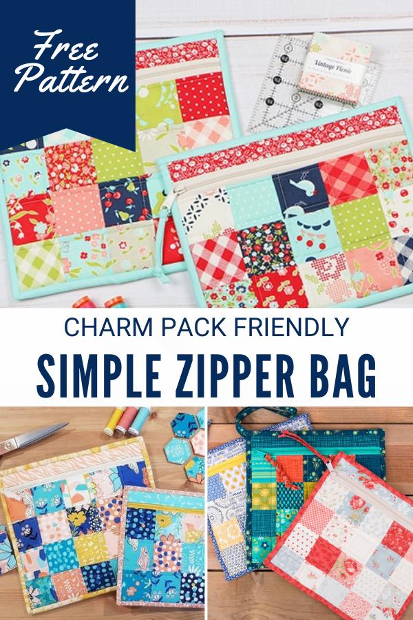 Charm Pack Friendly Simple Zipper Bag free tutorial