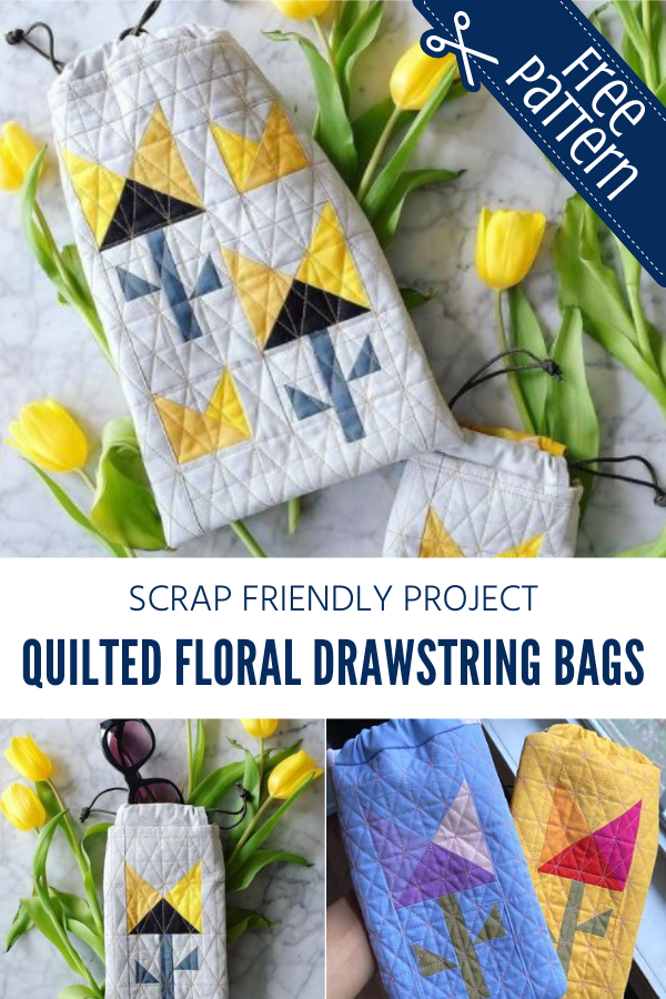 Quilted Floral Drawstring Bag Tutorial