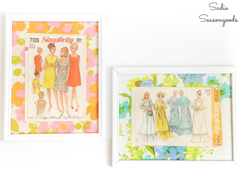 Vintage Sewing Pattern Wall Art perfect for a craft room