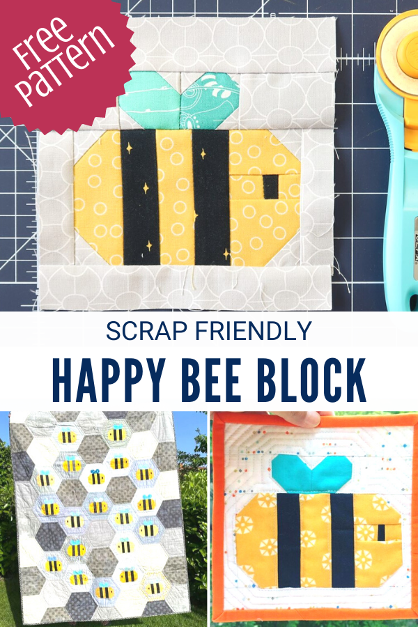Free Happy Bee Quilt Block Sewing Pattern