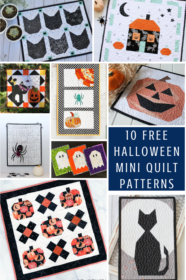 10 Free Halloween Mini Quilt Patterns