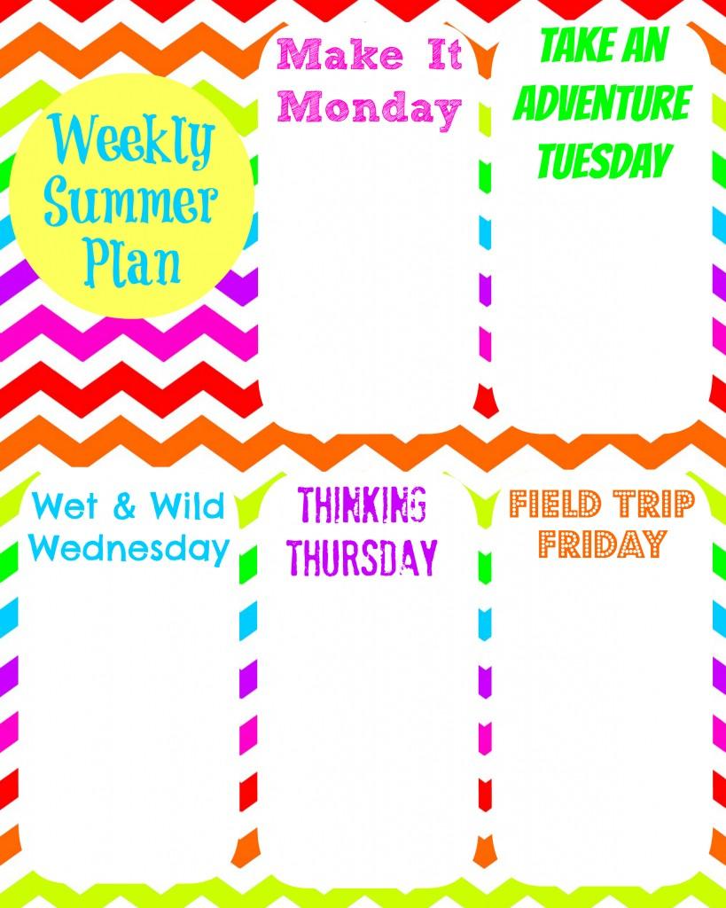 Weekly Summer Plan
