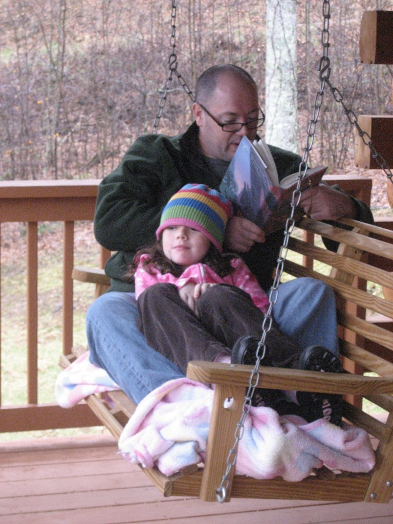 Dad reads Harry Potter to Allana