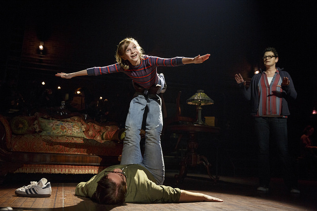 Carly Gold as 'Small Alison,' Robert Petkoff as 'Bruce' and Kate Shindle as 'Alison' in Fun Home. Photo: Joan Marcus.
