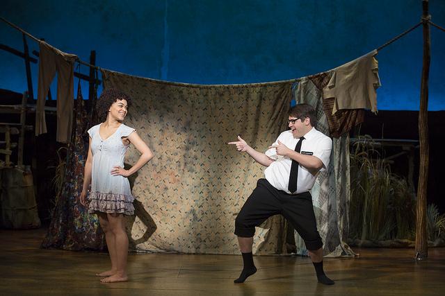 Kim Exum as Nabulungi and Conner Peirson as Elder Cunningham - The Book of Mormon, Photo Credit: Julieta Cervantes