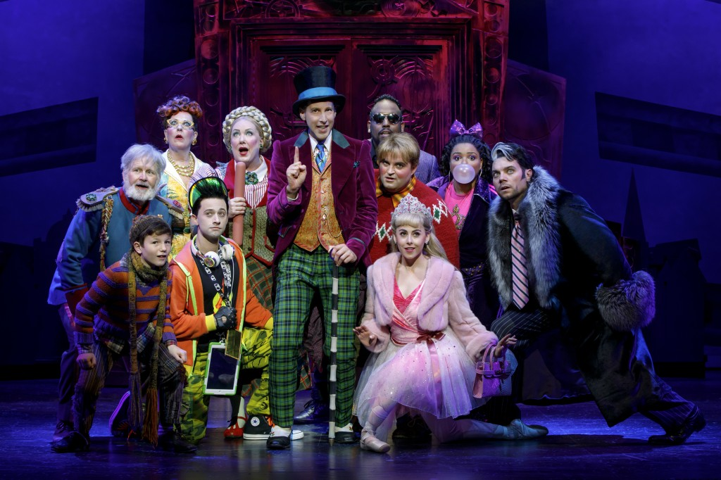 Roald Dahl's CHARLIE AND THE CHOCOLATE FACTORY. Noah Weisberg as Willy Wonka and company. Photo credit: Joan Marcus.