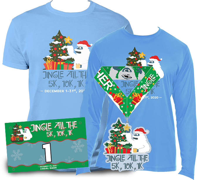 Bumble from Rudolph themed Christmas virtual race - fun run