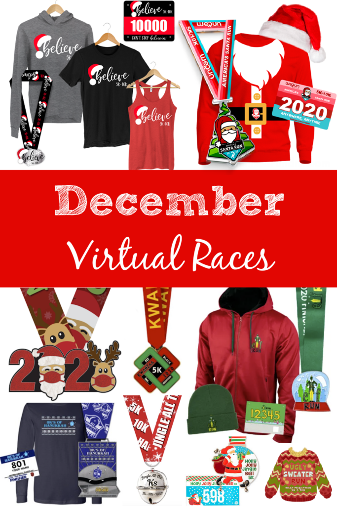 December Virtual Races - Christmas fun runs - Hanukkah runs- Kwanzaa run