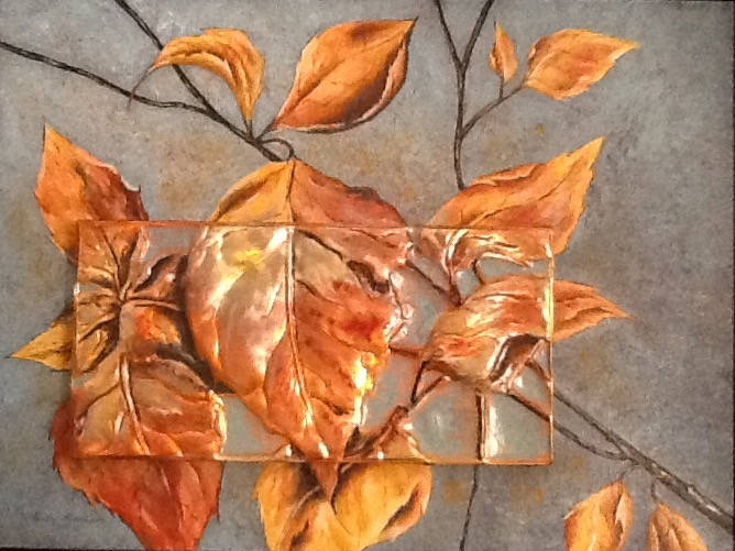 Acrylic painting of autumn leaves and Fall sky behind,with detailed image worked in copper repousse and applied on top of canvas.