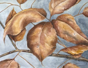 A detailed branch of turned leaves against a blue autumn sky.