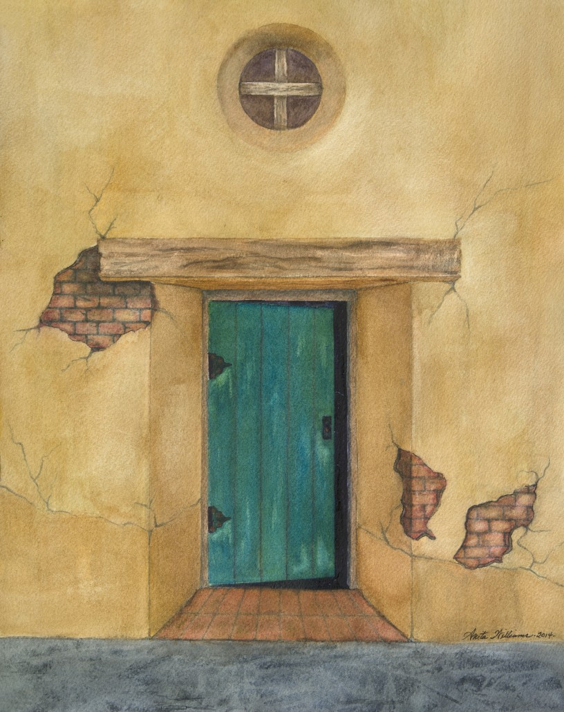 Watercolor of an old mission, the doorway ajar. Is someone coming in or leaving?