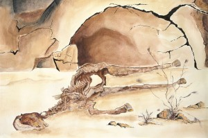 Watercolor of horse skeleton reclining in front of sandstone wall structures.