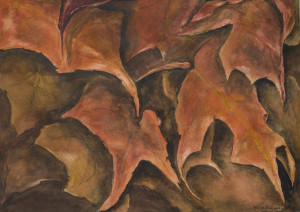 Gathering of autumn leaves in monochromatic browns and rust tones.